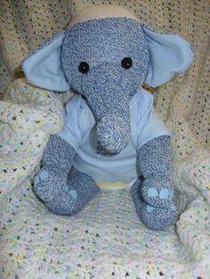 Sock Elephant, sock monkey friend, plush toy, stuffed animal