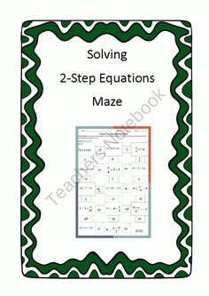 Solving 2-step Equations Maze product from 4-The-Love-of-Math on TeachersNotebook.com