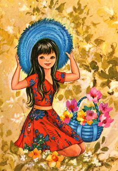girl picking some flowers in the garden.