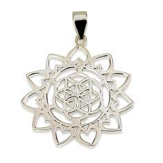 "Seed of Life Sun Pendant (Heart Flames) Sterling Silver 925 Size 1.3"" Yoga #MAGAYA #Pendant"