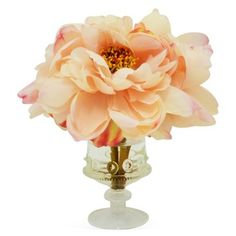 "Check out this item at One Kings Lane! 10"" Peony in Vase, Faux"