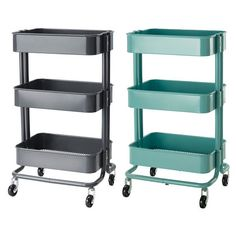 Ikea Raskog rolling cart:  I use one of these as a rolling vanity.  Works great.  I can wheel it into the bathroom to get ready or next to the bed for lazy mornings.