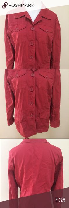 "CAbi Cabana Red Field Jacket Style #208 CAbi Cabana Red Field Jacket Coat Cotton Button Front Women's Large Style #208. Excellent condition! Washed/distressed look. See photos! Clean and comes from smoke free home. 100% cotton. Questions welcomed! Armpit to armpit: 18"" across Length: 26"" Sleeves: 24"" CAbi Jackets & Coats Utility Jackets"