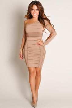 Designer Stunning Asymmetrical Metallic Mocha Lined Bandage Strappy Cut-Out Sleeve Dress