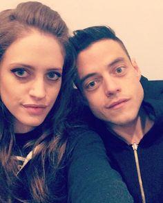 <Carly Chaikin and Rami Malek> <selfie> <Mr. Robot>