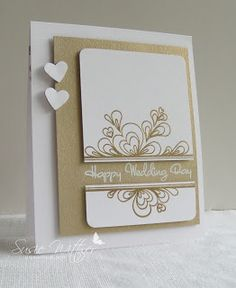 handmade wedding card Procraftination: Happy Wedding Day ...  Retrosketches #65 ... white and kraft with gold embossing ... luv it!