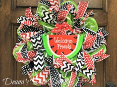 Deco Mesh Summer Watermelon Welcome Friends by DeanasDecoDesigns