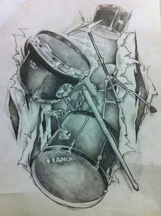 58 Musical Instruments And People Pencil Drawing Ideas - Art Music Tattoo Designs, Music Tattoos, Tattoo Sketches, Tattoo Drawings, Drummer Tattoo, Drum Drawing, Music Tattoo Sleeves, Drums Art, Latest Tattoos