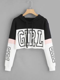 Harajuku Hoodies Sweatshirt Women Streetwear Letter Crop Top Hoodie 2018 Autumn Women Fashion Clothes Korean Moletom - Cropped - Ideas of Cropped - Cute Crop Tops, Cropped Tops, Cropped Hoodie, Crop Tops For Kids, Adidas Crop Top Hoodie, Adidas Jacket, Teen Fashion Outfits, Outfits For Teens, Trendy Outfits