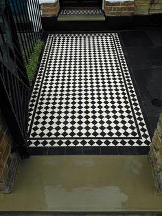 front garden victorian black and white diamond mosaic tile path london