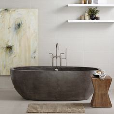 Avalon 72 - New in 2016 - Bathroom | Native Trails - Avalon is handcrafted of a breakthrough combination of natural jute fiber and cement known as NativeStone, making the tub much lighter than expected. Artisans hand form, polish, finish, and seal each individual tub using contemporary craft techniques. Avalon is available in two sizes: 62-inch and 72-inch, and in three finishes: Ash, Slate, and Pearl.
