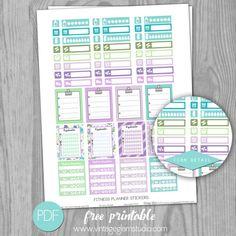 Free Printable Fitness Planner Stickers from Vintage Glam Studio Planner Pdf, Happy Planner, Planner Ideas, Planner Layout, Vintage Glam, Printable Planner Stickers, Free Printables, Calendar Stickers, Free Erin Condren