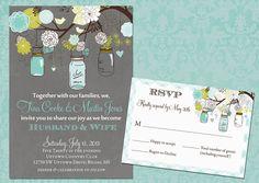 Rustic Mason Jar Floral Branch Wedding Set - Invitation and RSVP Card - Printable