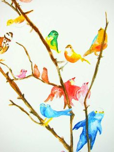 The Bird Collection print of an original watercolor painting by Abbey Hendrickson - Etsy - $ 25.00