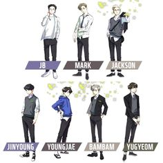 will become animated characters for upcoming webtoon! Youngjae, Got7 Jinyoung, Got7 Fanart, Kpop Fanart, Funny Picture Jokes, Funny Pictures, Yugeom Got7, Got7 Aesthetic, Nuno
