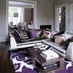 1000 images about purple and grey living room ideas on - Purple black and grey living room ...