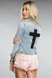 Studded cross denim jacket