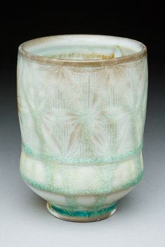 Adam Field Pottery, Soday Fired porcelain with Carving. I love everything about this ~ shape, colour, carving, glaze...