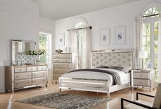 Acme Voeville Platinum 4 Pcs Queen Bedroom Sets For $1561