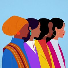 This illustration was created by Jovanna Tosello for International Women's Day. The piece features some of the freshman congress-women elected to office in the US: Ilhan Omar, Deb Haaland, Jahana Hayes, and Alexandria Ocasio-Cortez. Black Girl Art, Black Art, Art Girl, Woman Illustration, Graphic Illustration, Illustrations, Posca Art, Buch Design, Poster Design