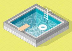 Isometric pool by Timur Zima on Isometric Drawing, Isometric Design, Pool Drawing, 3d Pool, Composition Art, Hand Illustration, Grafik Design, Graphic Design Inspiration, 3d Design