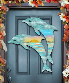 The Holiday Aisle Dolphin Scenic Sunset Wooden Decorative Do.- The Holiday Aisle Dolphin Scenic Sunset Wooden Decorative Door Hanger Internal Wooden Doors, Wood Doors, Pine Doors, Steel Doors, Wooden Decor, Wooden Diy, Diy Wood Projects, Wood Crafts, Wooden Door Hangers