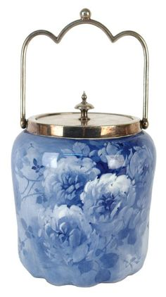 A Doulton Burslem biscuit barrel hand-painted by Percy Curnock. WOW. just WOW!