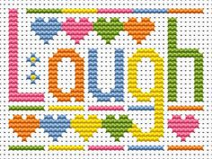 Sew Simple Laugh Word cross stitch kit