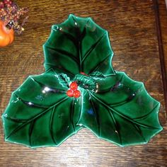 """Vintage Lefton China Green Holly Berry Christmas 3 Section Serving Piece 10""""   eBay"""