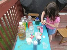 set up a table outside and fill different size bottles with different color water. Give your children aprons, droppers, spoons, basters,syringes and other empty containers for hours of fun! first saw this idea from here : http://www.frugalfamilyfunblog.com/2011/07/potion-lab.html
