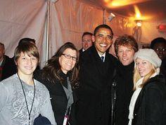 Jon Bon Jovi & Dorothea Hurley with Barack Obama and children Stephanie Rose and Jesse James Bongiovi