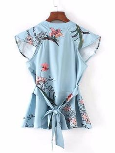 Shop Flounce Detail Self Tie Peplum Blouse online. SheIn offers Flounce Detail Self Tie Peplum Blouse & more to fit your fashionable needs. Peplum Blouse, Blouse And Skirt, Printed Blouse, Moda Chic, Hijab Chic, Blouse Online, Trendy Tops, Fashion Books, Blouse Styles