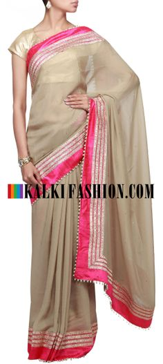 Buy Online from the link below. We ship worldwide (Free Shipping over US$100)  http://www.kalkifashion.com/grey-saree-featuring-with-gotta-patti-lace-border-only-by-kalki.html