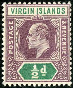 "British Virgin Islands  1904 Scott 29 ½d violet & blue green ""Edward VII""; Wmk 3"