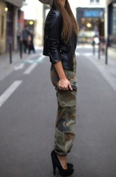 army and military prints for fall #fashion #camo #leather
