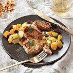 Pork Cutlets with Butternut Squash, Apple, and Cranberry Sauté Recipe | MyRecipes.com
