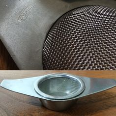 """This is from my own collection; a stainless steel tea strainer designed by Robert Welch for Old Hall Sheffield as part of their Campden range circa 1957. If you look on the underside of the strainer you can clearly see """"DESIGNED BY R. WELCH"""" above the Old Hall mark."""