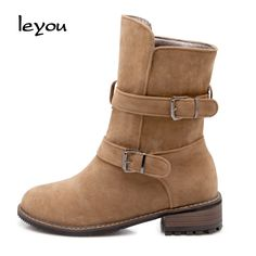 29.61$  Watch here - http://alion9.shopchina.info/go.php?t=32716212379 - New women mid calf boots fashion autumn winter nubuck leather square heels buckle strap boots 3 colors plus size women boots  #shopstyle