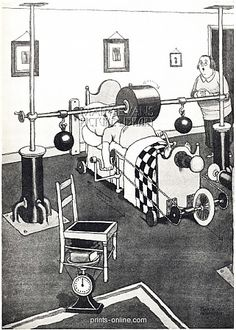New Banting Bed for Reducing the Figure from Prints-online: Beautiful posters, prints and merchandise with a historical theme., Heath Robinson Humour c/o Media Storehouse: Wall Art, Prints and Photo Gifts