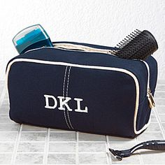 Classic Canvas Embroidered Monogram Travel Case