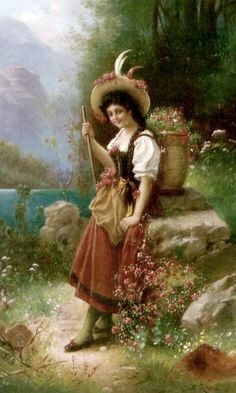 View The flower girl by Hans Zatzka on artnet. Browse upcoming and past auction lots by Hans Zatzka. Painting People, Figure Painting, Painting & Drawing, Classic Paintings, Beautiful Paintings, Original Paintings, Aesthetic Painting, Universe Art, Fashion Painting