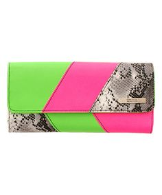 Take a look at this Green & Pink Tri Me a River Long Wallet on zulily today!