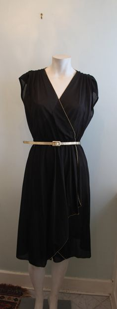 vintage. 70s Black Dress with Gold Piping // S // by styleforlife