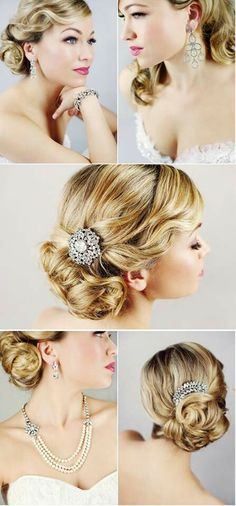 1920's style updo, perfect for the bride! Find a vintage brooch to transform into a hairclip for a touch of bling.