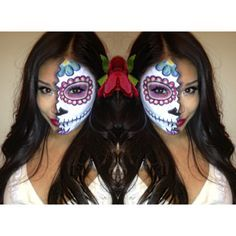 Dia De Los Muertos - Day Of The Dead - Mexican Sugar Skull Halloween Makeup Face Paint Half Face @_japanic_