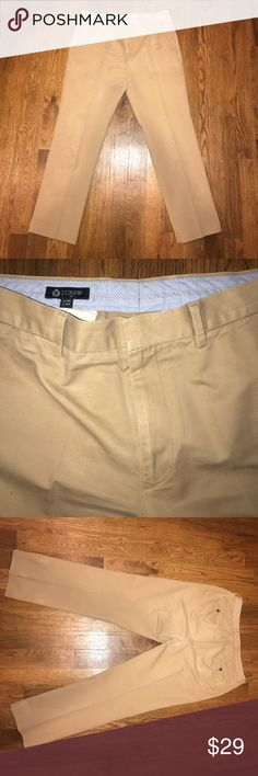 "J Crew 100% Cotton Khaki Slim Straight Dress Pants J Crew 100% Cotton Khaki Slim Straight Dress Pants. Waist 36/Length 34"". Small hole on left front pocket as pictured. Otherwise great condition. Price reflects condition. J. Crew Pants Chinos & Khakis"