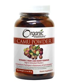 Organic Traditions Camu Camu Berry Powder.  • Wild-crafted, Gluten-Free, Kosher, Vegan, Non-GMO, Raw • An excellent source of whole food Vitamin C and a host of antioxidants • Vitamin C helps in the development and maintenance of bones, cartilage, teeth, gums and helps in connective tissue formation and wound healing • Vitamin C helps the body to metabolize fats and proteins • ORAC value of 3,000 per 1 tsp. 5 gram serving