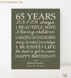 Happy 65th Birthday PRINTABLE Sign Print