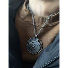 "Great for cosplay and theme parties. Great gift for fans of ""The Witcher"" universe Wolf Necklace, Men Necklace, Dog Tag Necklace, Pendant Necklace, Witcher Medallion, Urban Street Style, Street Styles, Metal Engraving, Wolf Moon"