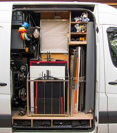 Fully equipped all in one 3 ton production truck for any type of filmmaking. Van Storage, Photo Storage, Garage Studio, Studio Setup, Photography Studio Equipment, Photography Gear, Wildlife Photography, Diy Van Conversions, Van Racking